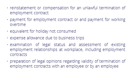 reinstatement or compensation for an unlawful termination of employment contract payment for employment contract or and payment for working overtime equivalent for holiday not consumed expense allowance due to business trips examination of legal status and assessment of existing employment relationships at workplace, including employment contracts preparation of legal opinions regarding validity of termination of employment contracts with an employee or by an employee